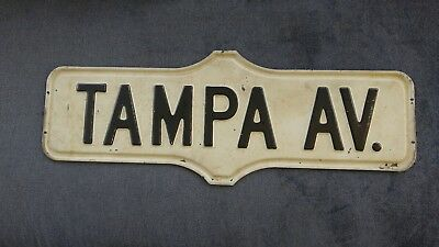 "Mid-century TAMPA AVE antique metal vintage street sign black & white 24"" X 9"""