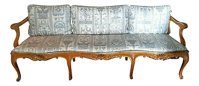 Vintage French Provincial Louis XVI Sofa Settee Bench Neoclassical Upholstery