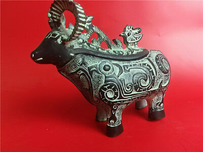 Ancient collection Chinese bronze China zodiac sheep shape wine cup statue