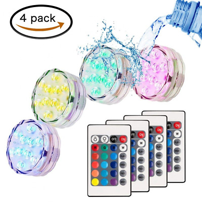 Submersible LED Lights, RGB Multi-Color Waterproof Battery Remote Control HOT US