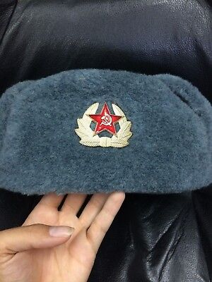 64e99ee3ada GENUINE USHANKA RUSSIAN Soviet Army Military Winter Fur Hat SIZE M ...