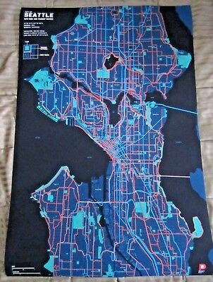 "Map Art of City of Seattle with Bike and Transit Routes 24"" x 36"""