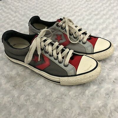 Converse One Star Gray Red Canvas Sneakers Shoes Mens 8 Womens 10 EU 41.5