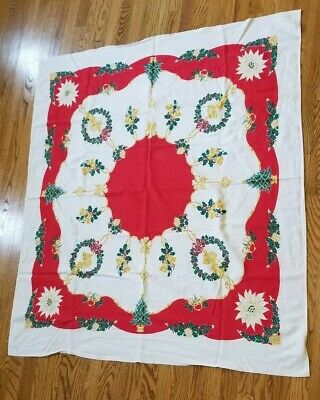 Vintage tablecloth Lot Florals Christmas Trees Startex Bells Red Green White
