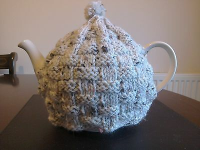 Hand knitted teapot cosy, fits 6 cup teapot Aran tweed