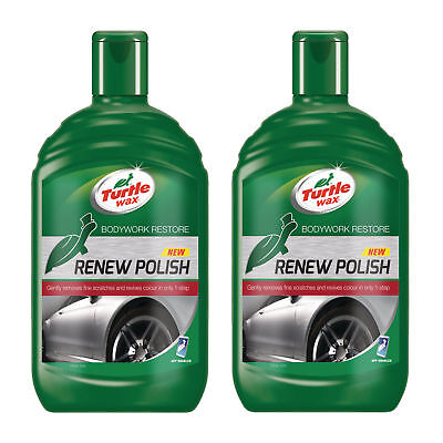 2 x Turtle Wax Renew Polish Wax Dull Car Paint Colour Restorer Scratch Remover