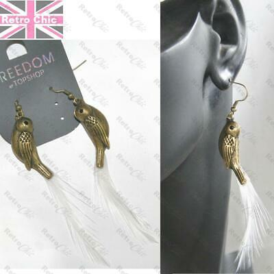 "4""long WHITE FEATHERS vintage brass BIRD EARRINGS feather TOPSHOP quirky retro"