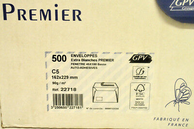 500 x C5 90g 162 x 229mm Envelopes Extra White Auto-sticky at Window 22718