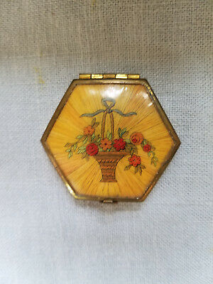 Vintage Houbigant small compact hexagon floral basket