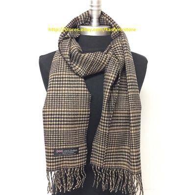 Men's 100% CASHMERE SCARF SCOTLAND PLAID Black/Dark Gray/Brown SOFT Wool Wrap