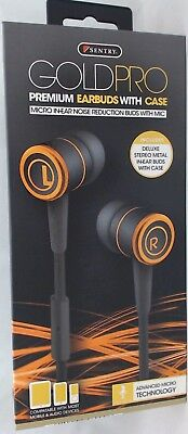 H8001 - Sentry Gold Pro Metal Earbuds with In-Line Mic & Deluxe Case, Black