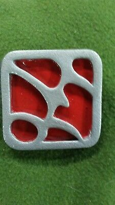 """Klingon Inspired Prop Pin """"Homeworld Badge"""" Silver and Red handpainted"""