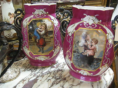 Beautiful Antique Porcelain Vases with Paintings