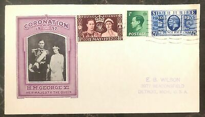 1937 London England First Day Cover FDC Coronation King George VI KGVI To USA G