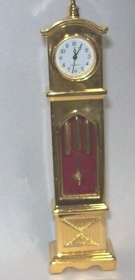 Vintage Miniature, Grandfather Clock, Gold Quartz Clock
