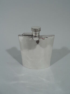 George V Flask - Antique Art Deco Modern Barware - English Sterling Silver