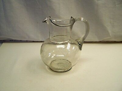 """Antique Clear Glass Hand Blown & Etched 8 3/4"""" Water Pitcher"""