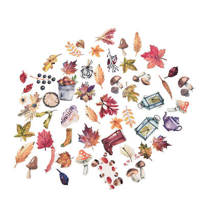 50 pcs/Pack Autumn Leaves Paper Stickers Card Stationery Scrapbooking Decorative