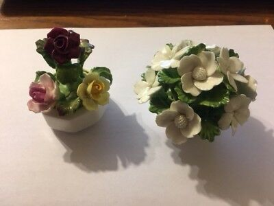 2 Aynsley Vintage English Fine Bone China Hand Painted Flowers In White Pots