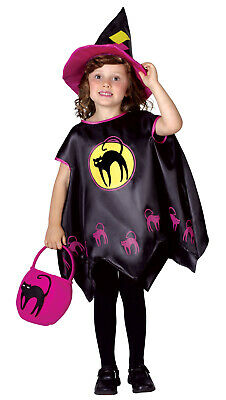 Halloween Girls Cape Hat Bag Moon Witch Poncho Outfit Fancy Dress Costume New 4