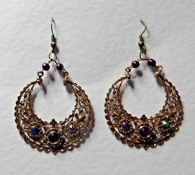 Exotic Eastern Indian Style Rose Gold Plated Hoop Drop Earrings Purple Stones