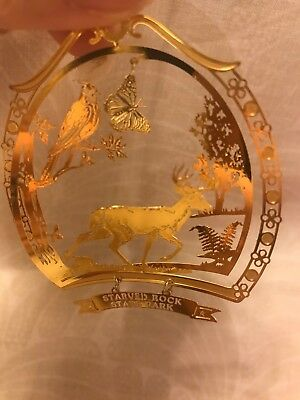 Vintage Nation's Treasures State Brass Illinois Starved Rock State Park Ornament