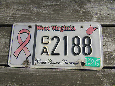 2002 West Virginia Breast Cancer Awareness License Plate Pink Ribbon WVA
