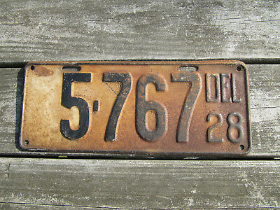1928 Delaware License Plate The First State DEL 28 Old Tag 5767