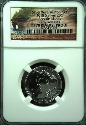 2018 S APOSTLE ISLANDS SILVER QUARTER 25c EARLY RELEASES  NGC PF70 REVERSE PROOF