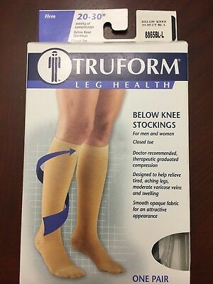 TruForm Leg Health Below Knee Stockings Black Firm 20-30* mmHg Closed toe Large