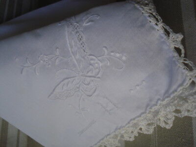 Vintage Handkerchief # Crochet Lace  # Embroidery