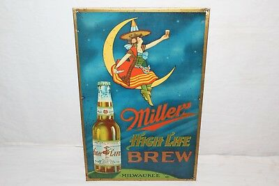 "Rare Vintage 1930's Miller High Life Beer Girl Tavern Gas Oil 17"" Metal Sign"