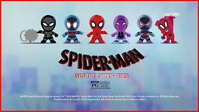 Marvel Spiderman Spider-verse 2018 McDonalds Happy Meal Toys Complete Set of 6