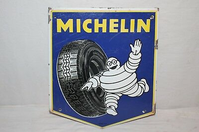 Original Rare Vintage 1960's Michelin Man Tires Gas Station Porcelain Metal Sign