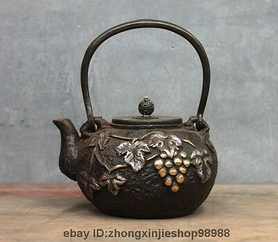 Archaic Japan Iron Silver Gilt Grape Grapes Wild beast Flagon Kettle Tea Pot