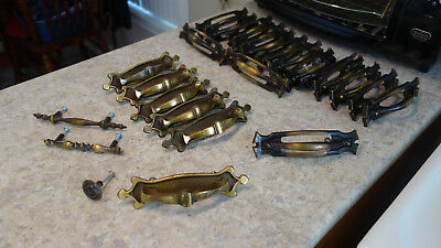 Lot of 25 Kitchen Cabinet Antique Brass Handles, complete with screws