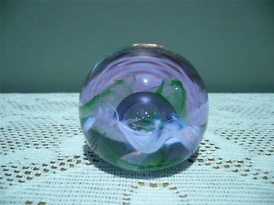 Caithness Scotland Small Round Glass Paperweight - Moon  Crystal - Neo - Gc
