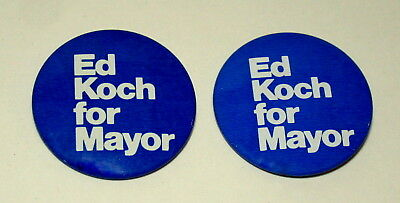 Ed Koch for New York City NYC Mayor Blue Political Campaign Button NOS New