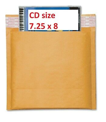 250 #CD 7.25x8 Kraft Bubble Mailers CD ROM Envelopes Bags
