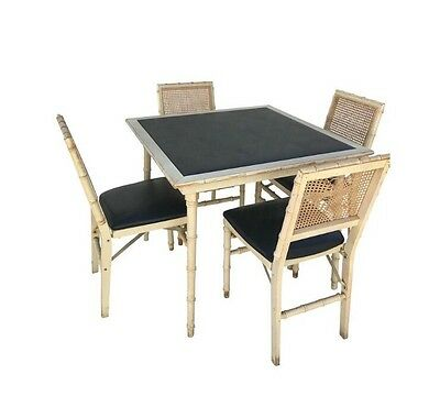 5 pc Faux Bamboo Vintage MCM Chippendale Style FOLDING Game Table & 4 Chairs
