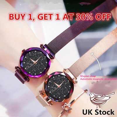 Starry Sky Watch Magnet Strap Free Buckle Stainless Steel Women Gift