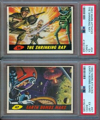 1962 Mars Attacks #24 The Shrinking Ray Psa 5 (Mc) & #47 Earth Bombs Psa 6 (Oc)