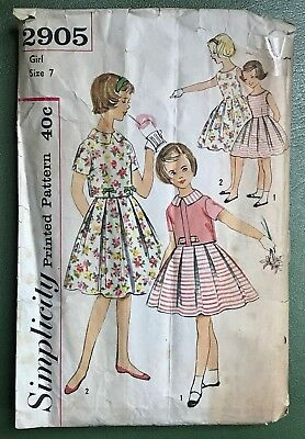 1960s Girls Sewing Pattern Vintage Dress & Blouse Simplicity 2905 Child's Size 7