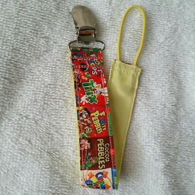 Baby Soother/Pacifier Holder w/Metal Clip/Retro Cereal