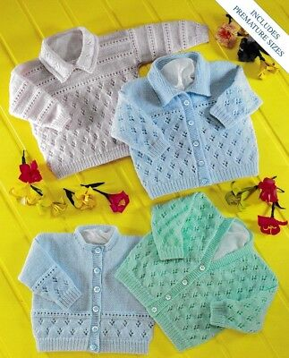 Baby Toddler Cardigans Jumper Knitting Pattern 4 Ply Copy Includes Premmie size