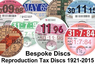 Reproduction Classic Car Vehicle Road Tax Disc Birthday Fathers Day Gift Bespoke