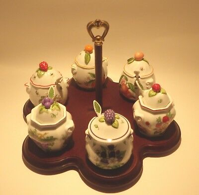 Lenox Orchard Pattern Jam Jars Spoons Includes Wooden Caddie 1991 Retired