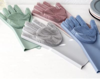 2 in 1 Silicon Dish Scrubber Glove 100% Food Grade Cleaning Dishwashing 1 Piece