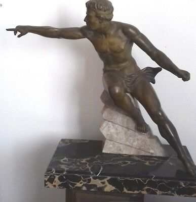Grande Statue Art Deco 1925 France Homme Nu French  Gay Max Le Verrier