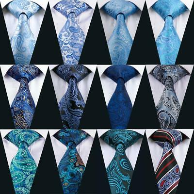 UK New Silk Men Ties Classic Blue Paisley Floral Necktie Set Jacquard Wedding